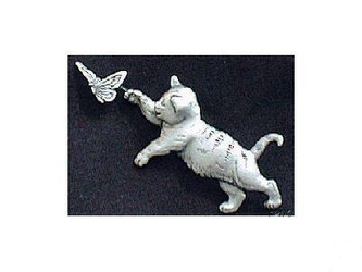 Sweet Pewter Tabby Cat Kitten Chasing Butterfly Pin