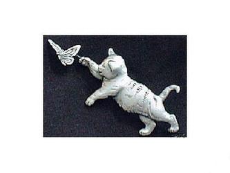 Sweet Pewter Tabby Cat Kitten Chasing Butterfly Pin