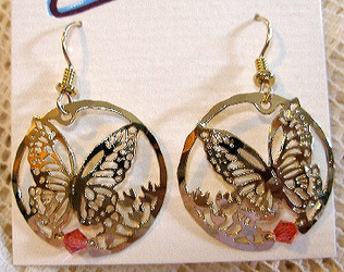 Monarch Butterfly and Milkweek with Pink Crystal 14ct Gold Plated Earrings