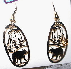 Bear Walking by Cliff and Trees 14kt GOLD Plated Earrings by Wild Bryde