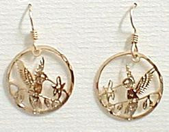 Ruby-Throated Hummingbird and Flower Dangle 14ct Gold Plated Earrings by Wild Bryde