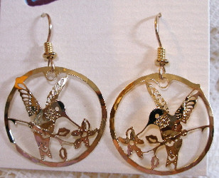 Hummingbird Dipping into Flower 14kt Gold Plated Round Dangle Earrings by Wild Bryde