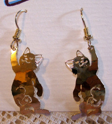Playful Kitten Cat Batting Paw 14kt Gold Plated Dangle Earrings by Wild Bryde