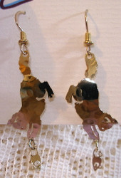 Playful Kitten Cat and Mouse Toy 14kt Gold Plated Earrings by Wild Bryde