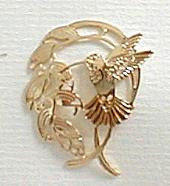 Tropical Hummingbird and Heliconia Flower 14kt Gold Plated Pin by Wild Bryde