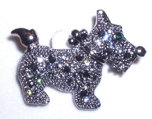 Jeweled Scottie Scottish Terrier Puppy Dog Marcasite Style Austrian Crystal Pin