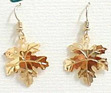 Maple Leaf Tree 14kt Gold Plated Dangle Earrings by Wild Bryde