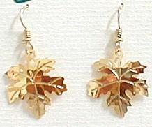Maple Leaf Tree 14kt Gold Plated Dangle Earrings by Wild Bryde