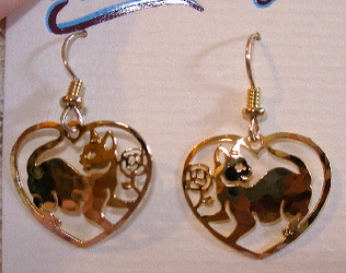 Lovely Kitten Cat and Rose Heart Shaped 14kt Gold Plated Earrings by Wild Bryde