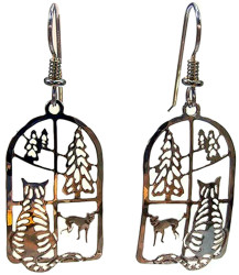 Wild Bryde Tabby Cat at Window with Tree & Dog 14kt Gold Plated Earrings