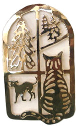 Tabby CAT at Window With Trees and Dog 14kt Gold Plated Brooch Pin