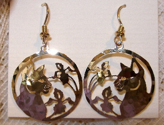 Cat and Iris Flowers Dangle 14kt Gold Plated Earrings Wild Bryde