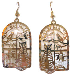 Tabby Cat in the Window with Bird and Tree 14ct Gold Plated Dangle Earrings