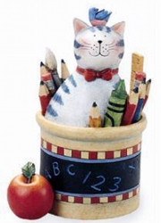 Sweet Teacher's Pet Grey Tabby Cat in Pencil Holder Resin Figurine