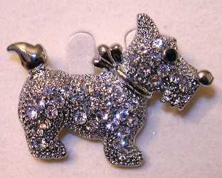 Scottie Scottish Terrier Puppy Dog Austrian Crystal Jeweled Pin