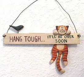 "Orange Tabby Cat Hang Tough 6"" Folk Art Wood Hanger"