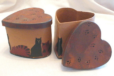 Adorable Tabby & Black Cats Set of Two Heart Shaped Boxes