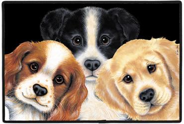 Cute Three Peeping Puppy Dogs 18x27 Art Indoor Outdoor Doormat