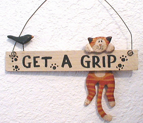 "Orange Tabby Cat Get A Grip 6"" Folk Art Wood Hanger"