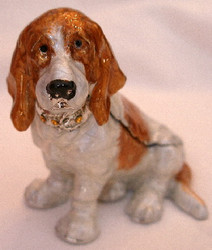 Rucinni Basset Hound Dog Enamel Trinket Box with Swarovski Crystals