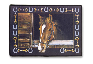 "Brown Horse in Stall with Horseshoe Border 18""x27"" Art Indoor Outdoor Doormat"