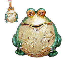 Bejeweled Whimsical Green Frog Enamel & Austrian Crystal Trinket Box & Necklace