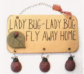 "Cute Ladybug Fly Away Home 3D 9"" Folk Art Wooden Hanger Sign"