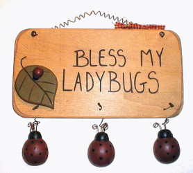 "Lovely Bless My Ladybugs 9"" 3-D Wooden Folk Art Hanger Sign"