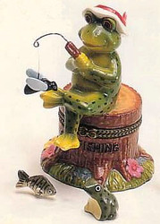 "Fly Fishing Frog Fisherman 3pc 4"" Porcelain Hinged Trinket Box"