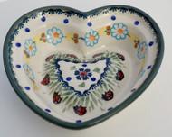 Polish Pottery Small Heart Bowl- Lady Bug Dance