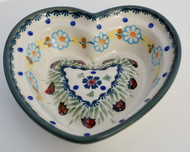 Polish Pottery Small Heart Bowl- Lady Bug Dance