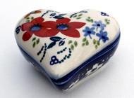 Polish Pottery Heart Box - Love in Bloom