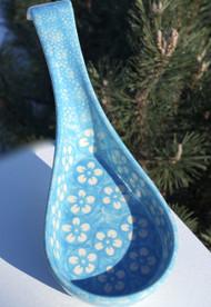 Polish Pottery Spoon Rest - Cerulean