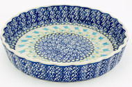 Polish Pottery Fluted Quiche Dish- Blue Tulip