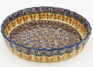 Polish Pottery Fluted Quiche Dish- Amber Butterfly