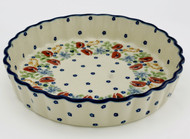 Polish Pottery Fluted Quiche Dish- Field of Poppies