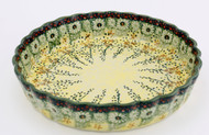 Polish Pottery Fluted Quiche Dish- Sunlit Meadow