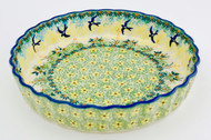 Polish Pottery Fluted Pie Dish- Tranquility