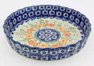 Polish Pottery Fluted Pie Dish- Marigold