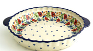 Polish Pottery Pie Plate- Field of Poppies