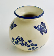 "Polish Pottery Stoneware 5"" Vase - Butterfly Dance"