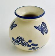 """Polish Pottery Stoneware 5"""" Vase - Butterfly Dance"""