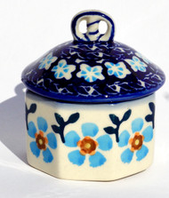 Polish Pottery Mini Pretzel Box -Topaz