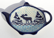 Polish Pottery Tea Bag Holder - Reindeer Games