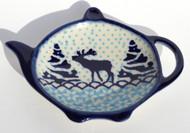 Polish Pottery Tea Bag Holder - Reindeer Games