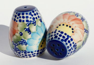 Polish Pottery Small Salt & Pepper Set- Straw Flower