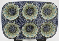 Polish Pottery Muffin Pan - Blue Tulip