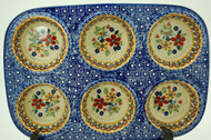 Polish Pottery Muffin Pan -Grandma's Garden