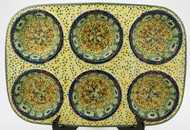 Polish Pottery Muffin Pan - Sunlit Meadow