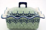 Polish Pottery Rectangular Covered Baker - Unikat Lace